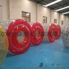 充气水上滚筒批发/彩色/透明水上行走球价格/厂家