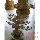 纯铜聚宝盆发财树 黄铜招财树