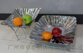 不锈钢二层折纹果盘锤印果盆酒店自助餐用品KTV配套刺身冷餐沙拉