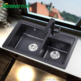 杰美JM201厨房石英石水槽双槽花岗岩水槽