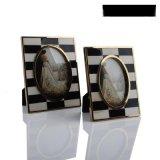 黑白牛骨牛角貼片金色不鏽鋼金屬相框新古典美式歐式樣板房間擺件
