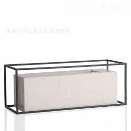 铁艺白色大理石花器瓶禅意日式中式北欧式创意样板间装饰摆件摆台