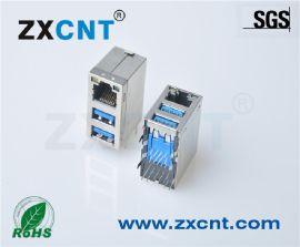 朱讯电子供应双层USB3.0+RJ45带网络插座RJ45连接器