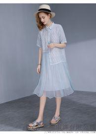流行服装厂家直接拿货凯撒贝雷复古印花连衣裙尾货