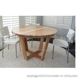 实木餐桌椅组合 进口橡木家用餐桌 简约木桌 快餐桌酒店餐桌 咖啡厅甜品店**个性实木餐桌