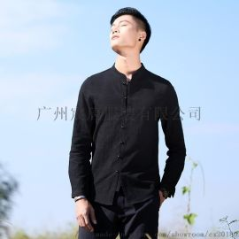 中国风男式休闲长袖衬衣棉麻男修身立领衬衫