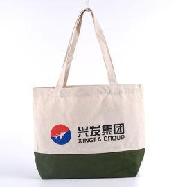 本色帆布袋拼接款绿色购物度棉布袋定制logo购物