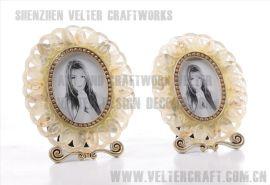 欧式家居饰品软装摆件透明树脂银玫瑰花相架框摆设