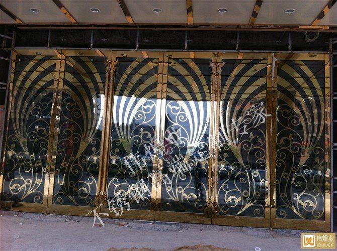 不锈钢地弹门不锈钢门框门套-伟煌业制造商
