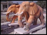 定制 曲阳石雕大象晚霞红大象汉白玉象天然石材大象招财象大理石喷水象
