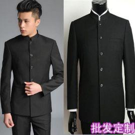 时尚秋冬装男式修身中华立领西服黑色商务中山装套装