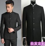 時尚秋冬裝男式修身中華立領西服黑色商務中山裝套裝