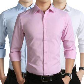 秋季男士衬衣修身型长袖衬衫纯色青年薄款商务工装定做工作服批发