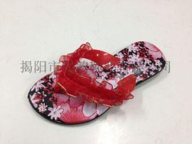 揭阳厂家供应儿童丝带鞋面拖鞋