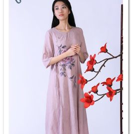 木棉道 唐装 夏新 短袖连衣裙中国风手绘长裙 棉麻圆领女装18440