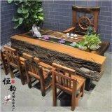 老船木傢俱廠家直銷 本色船木茶臺 多動能功夫茶臺 靠背主人椅