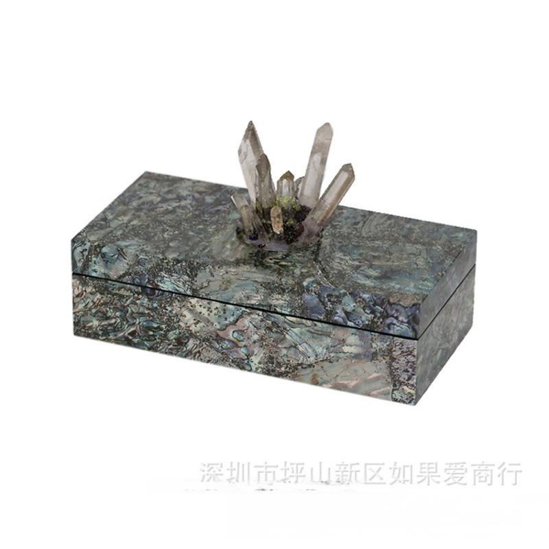 长方形鲍鱼贝壳木质饰品盒天然水晶首饰盒样板间软装工艺品摆件