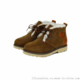 伊丰鞋业童鞋绒面真皮羊皮毛一体童款马丁鞋