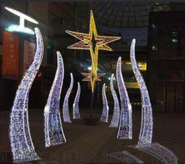 户外led造型灯六角星拱门铁艺/拱门装饰场景布置