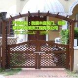 供应江苏常州苏州户外园艺碳化木拱门庭院花园门