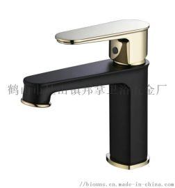 邦拿卫浴 黑+金色单孔冷热水龙头面盆铜龙头