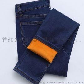 冬季加绒牛仔裤女小脚裤加厚修身显瘦九分铅笔裤