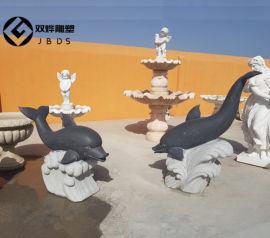 公园海豚石雕园林大理石景观动物海豚雕塑小品