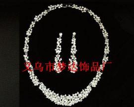 梦达饰品 M-14新娘饰品韩式合金 水钻银色套链 婚纱配饰