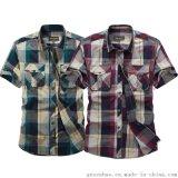 韩版男士修身衬衫 条纹短袖衬衫 都市户外时尚T恤衬衫