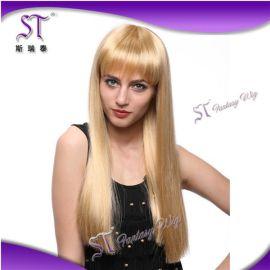 厂家直销 金色假发直长发 齐刘海修脸外贸原单 长直发假头发发套 GF-W373 #LG26