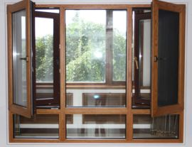 华兴120系列木铝复合窗纱一体窗 防蚊虫 防盗