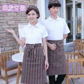 纯色服务员工作服春夏季男女短袖T恤衫 中西餐厅面包房服务生工装