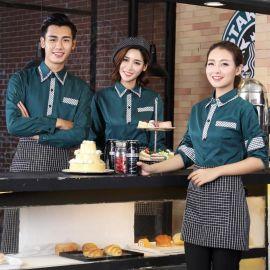 供应餐饮酒店工作服秋冬装咖啡厅服务员工作服长袖衬衣配围裙
