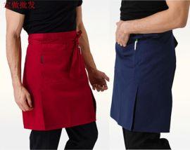 围裙定制纯棉开叉厨房半身男短款围裙酒店餐厅咖啡服务员工作围兜