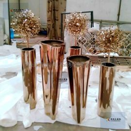 不锈钢花盆摆件多肉大花盆工艺园艺家居别墅创意花器工艺品定制