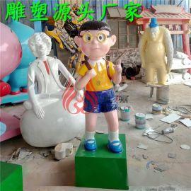 玻璃钢雕塑圣诞节卡通人物雕塑定制厂家 动漫人物主题雕塑定制