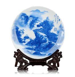 景德镇青花彩绘陶瓷纪念盘厂家