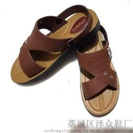 2018夏新款时尚男士耐磨防滑两用沙滩拖鞋皮凉鞋