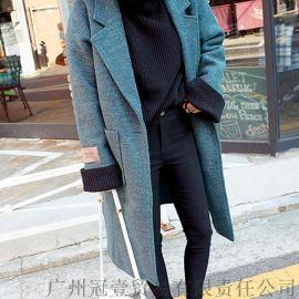 2016韩版冬季新款 宽松大码加厚茧型大翻领呢子大衣中长款外套