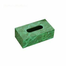 木质长方形孔雀绿色纸巾盒欧式创意客厅卧室酒店样板房间软装摆件