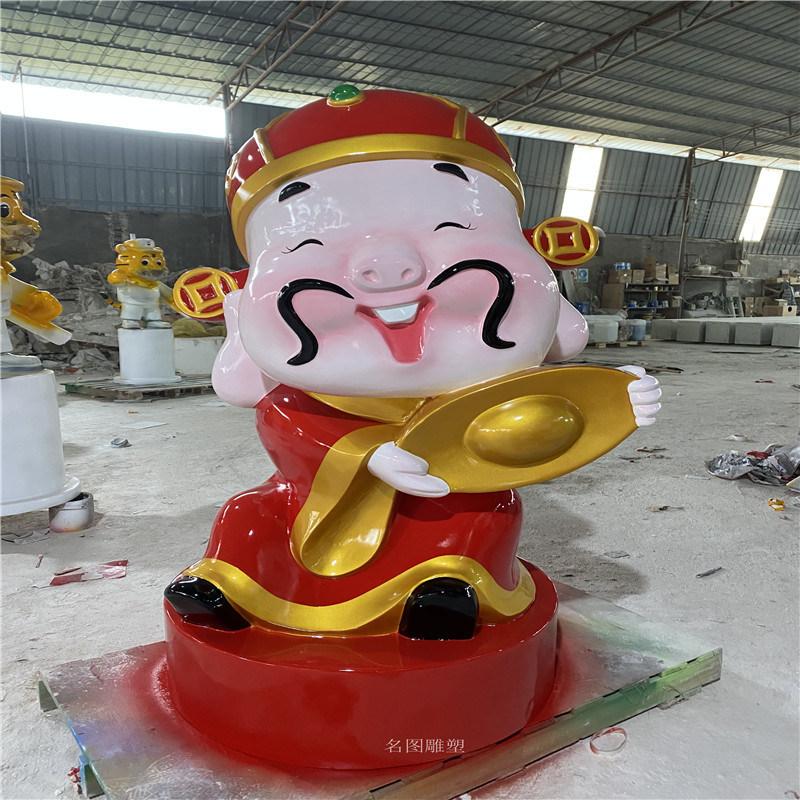 商场玻璃钢财神爷雕塑摆件 佛山卡通财神爷雕塑造型