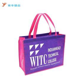 广州育丰定做加厚型无纺布购物袋 紫色不织布购物袋