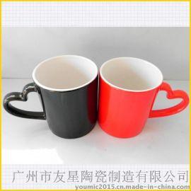 情人节促销礼品杯 热转印专用涂层杯 心型把全变色杯 十个起订
