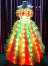 LED发光服 发光礼服 夜光服 LED荧光服 发光舞台服 发光舞蹈服