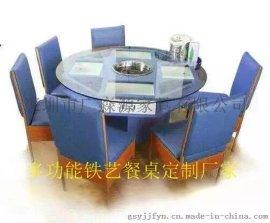 东莞一家餐厅饭菜真湘6人多功能餐桌定做带抽屉餐桌