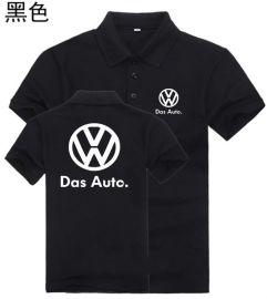 黑色夏季翻领短袖超市工作服T恤4S店汽车维修工形象工服定制logo