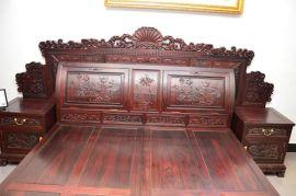 黑酸枝四季如意大床价格,供应商钰品红木家具,黑酸枝家具价格,