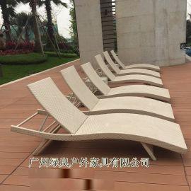 广州厂家直销新款编藤躺椅户外休闲泳池躺床
