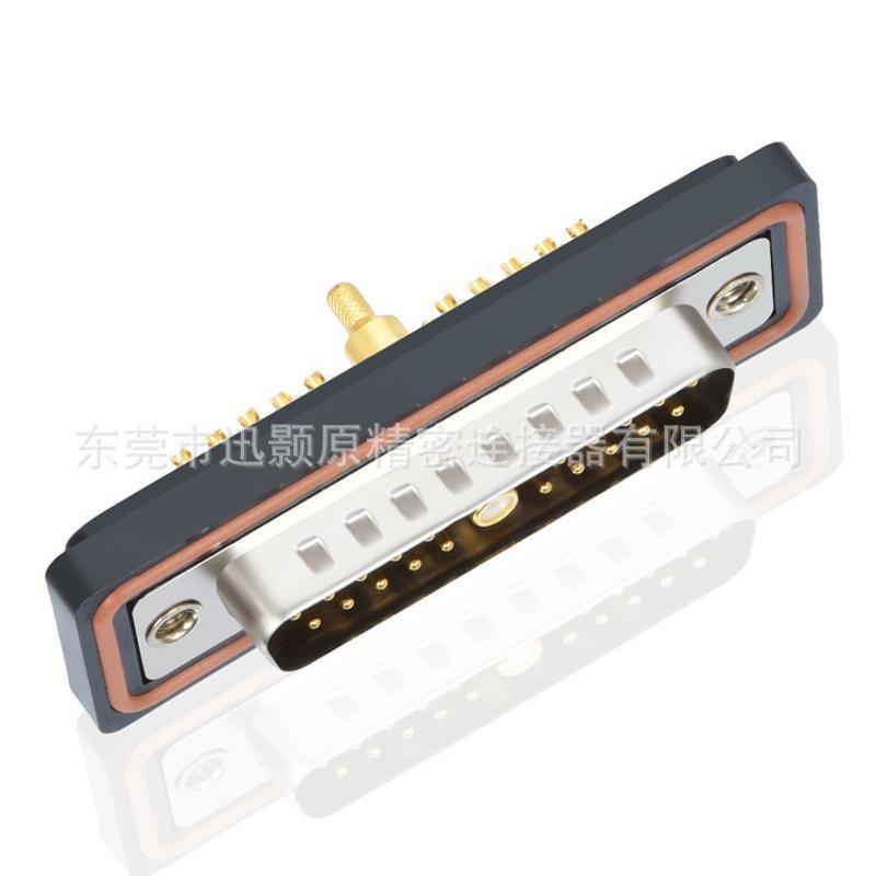 D型连接器D-SUB射频同轴防水连接器,21W1公射频同轴焊线连接器