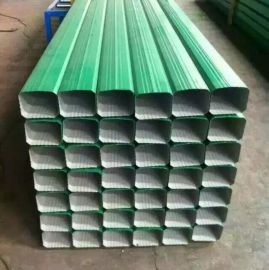 济南供应144*108型矩形落水管/彩钢雨水管项目实例 0.3mm--0.6mm厚 宝钢白灰落水管 宝钢深灰落水管